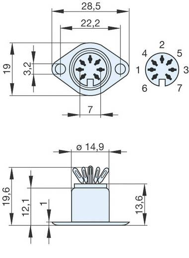 DIN-Rundsteckverbinder Flanschbuchse, Kontakte gerade Polzahl: 7 Silber Hirschmann MAB 7 S 1 St.