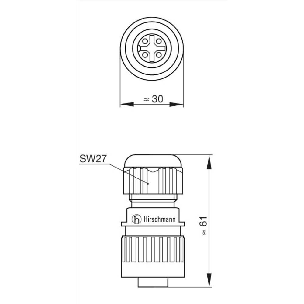 Steckverbinder für Netzspannung CA-Serie Pole: 3 + PE Kabeldose 16 A ...