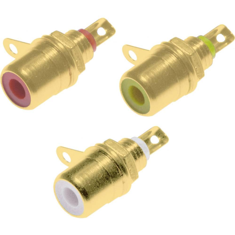 Connecteur cinch rca embase femelle verticale nombre de p les 2 rouge jaune blanc 3 pc s - Cable blanc rouge jaune ...