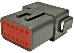 Konektor Deutsch 17109 (DT 04-12 PA-CE02), zásuvka rovná, 12-pól., séria DT, 13 A, čierna