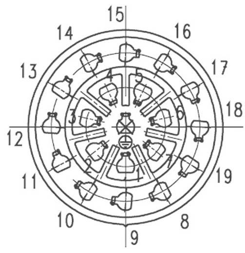 Gerätestecker C16-3 Pole: 19 + PE gerade 6 A C016 10C019 000 2 Amphenol 1 St.