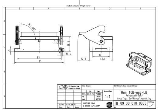 Anbaugehäuse Han® 10B-agg-LB 09 30 010 0305 Harting 1 St.