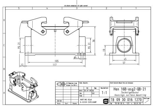 Sockelgehäuse Han® 16B-asg2-QB-21 09 30 016 1270 Harting 1 St.