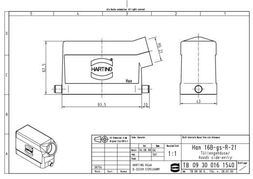 Tüllengehäuse Han® 16B-gs-R-21 09 30 016 1540 Harting 1 St.