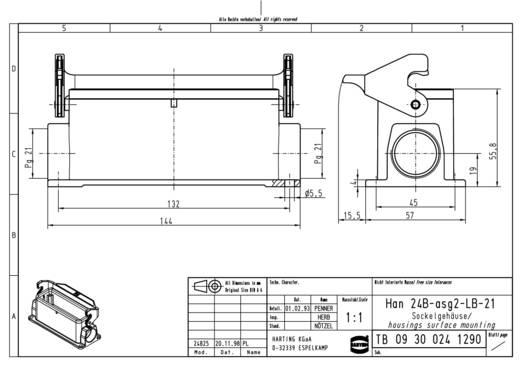 Sockelgehäuse Han® 24B-asg2-LB-21 09 30 024 1290 Harting 1 St.