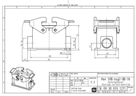 Sockelgehäuse Han® 10B-asg2-QB-16 09 30 010 1271 Harting 1 St.