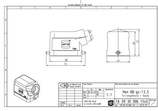 Tüllengehäuse Han® 6B-gs-13,5 09 30 006 1540 Harting 1 St.