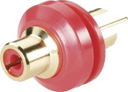 Cinch konektor TRU COMPONENTS zásuvka, vestavná vertikální, pólů 2, červená, pozlacený, 1 ks