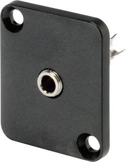 Jack konektor 3,5 mm stereo Hicon HI-J35SEFD, přírubová zásuvka rovná, 3pól., černá