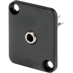 Jack konektor 3.5 mm stereo prírubová zásuvka, rovná Hicon HI-J35SEFD, pinov 3, čierna, 1 ks