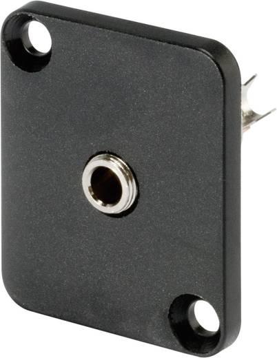 Klinken-Steckverbinder 3.5 mm Flanschbuchse, Kontakte gerade Polzahl: 3 Stereo Schwarz Hicon HI-J35SEFD 1 St.