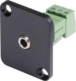 Jack konektor 3,5 mm stereo Hicon HI-J35SEFD-S, přírubová zásuvka rovná, 3pól., černá