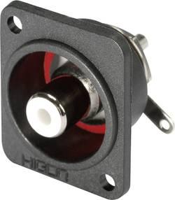 Cinch konektor Hicon HI-CEFD-RED, přírubová zásuvka, rovná, pólů 2, červená, poniklovaný, 1 ks