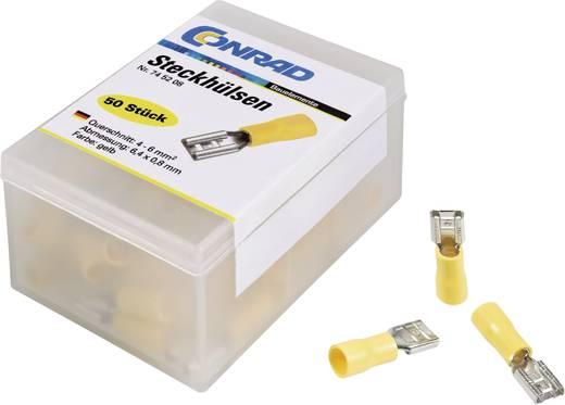 Flachsteckhülse Steckbreite: 4.8 mm Steckdicke: 0.5 mm 180 ° Teilisoliert Gelb Conrad Components 737554 50 St.
