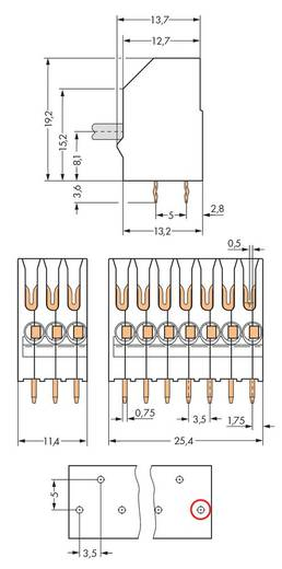 Federkraftklemmblock Polzahl 7 251-107 WAGO Weiß 180 St.