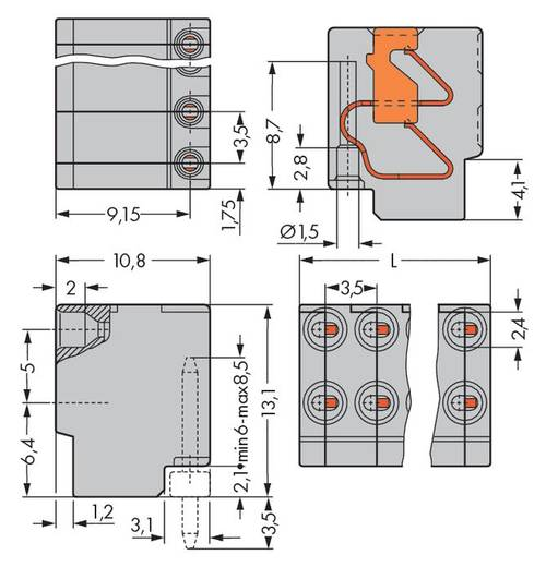 WAGO 252-103 Buchsengehäuse-Kabel 252 Polzahl Gesamt 3 Rastermaß: 3.50 mm 400 St.