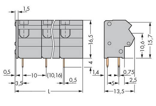 Federkraftklemmblock 1.50 mm² Polzahl 10 254-660 WAGO Grau 40 St.