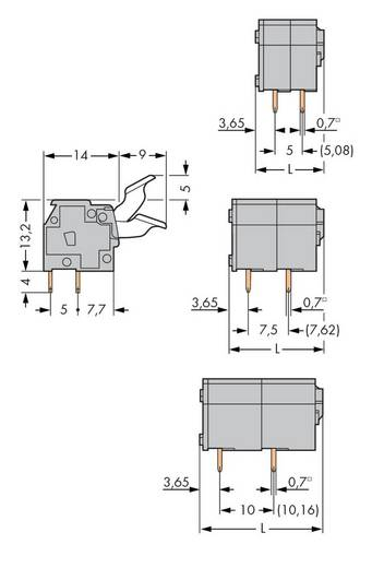 Federkraftklemmblock 2.50 mm² Polzahl 2 255-402/333-000 WAGO Grau 400 St.