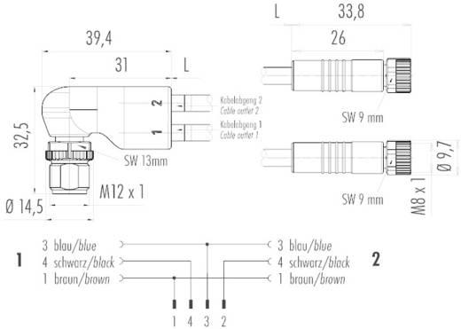 Winkel-Duostecker-Verbindungsleitung mit Kabeldosen Pole: 4 77 9827 3406 50003 Schwarz Binder