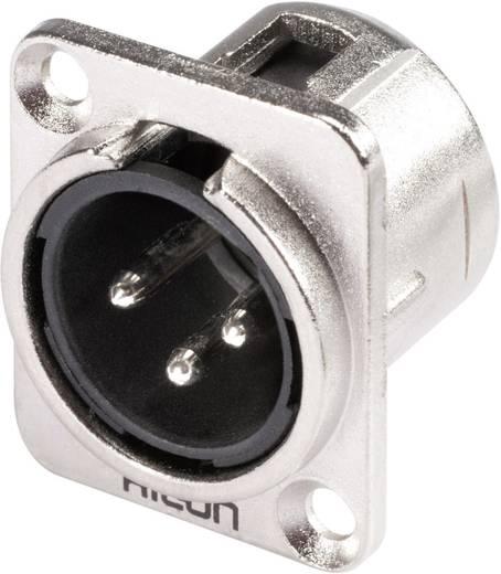 XLR-Steckverbinder Flanschstecker, Kontakte gerade Polzahl: 3 Silber, Schwarz Hicon HI-X3DM 1 St.