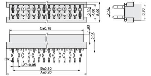 MPE Garry Buchsenleiste (Standard) BL Polzahl Gesamt 4 Rastermaß: 1.27 mm 369-1-004-0-NTX-KT0 440 St.