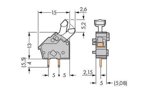 Federkraftklemmblock 2.50 mm² Polzahl 1 256-743/999-950 WAGO Licht-Grau 600 St.