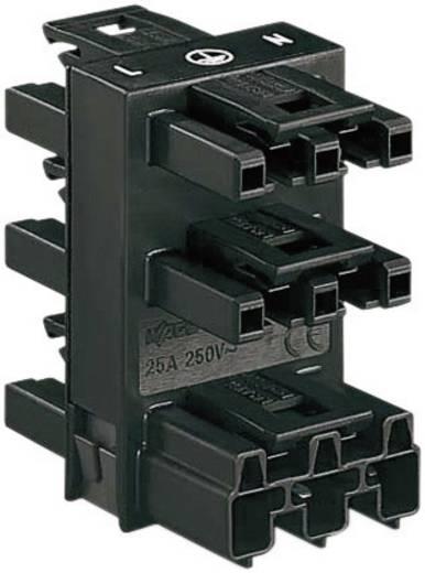 Netz-Verteiler Netz-Stecker - Netz-Buchse, Netz-Buchse, Netz-Buchse, Netz-Buchse, Netz-Buchse Gesamtpolzahl: 2 + PE Schwarz WAGO 1 St.