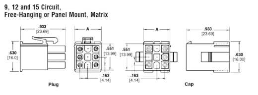TE Connectivity 172163-1 Buchsengehäuse-Kabel Universal-MATE-N-LOK Polzahl Gesamt 15 Rastermaß: 4.20 mm 1 St.