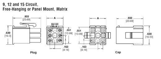 TE Connectivity 172169-1 Stiftgehäuse-Kabel Universal-MATE-N-LOK Polzahl Gesamt 9 Rastermaß: 4.20 mm 1 St.