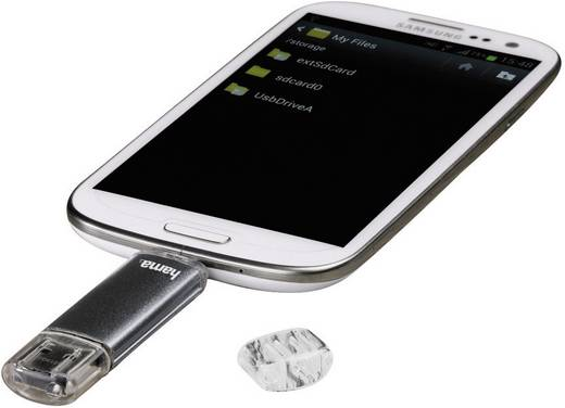 USB-Zusatzspeicher Smartphone/Tablet Hama Laeta Twin Grau 32 GB USB 2.0, Micro USB 2.0