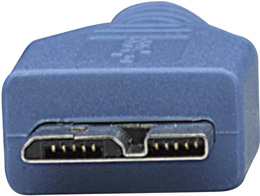 USB 3.0 Anschlusskabel [1x USB 3.0 Stecker A - 1x USB 3.0 Stecker Micro B] 1 m Blau vergoldete Steckkontakte, UL-zertifi