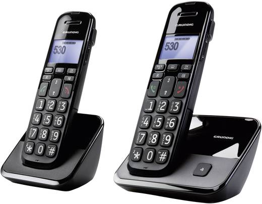 Schnurloses Seniorentelefon Grundig D530DUO Optische Anrufsignalisierung Beleuchtetes Display Schwarz