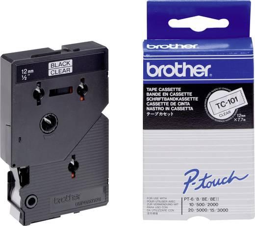 Schriftband Brother TC TC-101 Bandfarbe: Transparent Schriftfarbe:Schwarz 12 mm 7.7 m