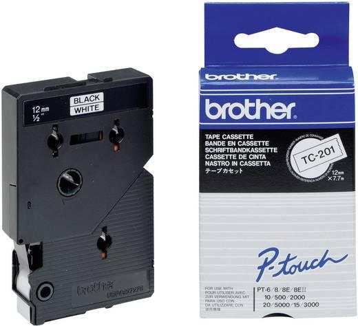 Schriftband Brother TC TC-201 Bandfarbe: Weiß Schriftfarbe:Schwarz 12 mm 7.7 m