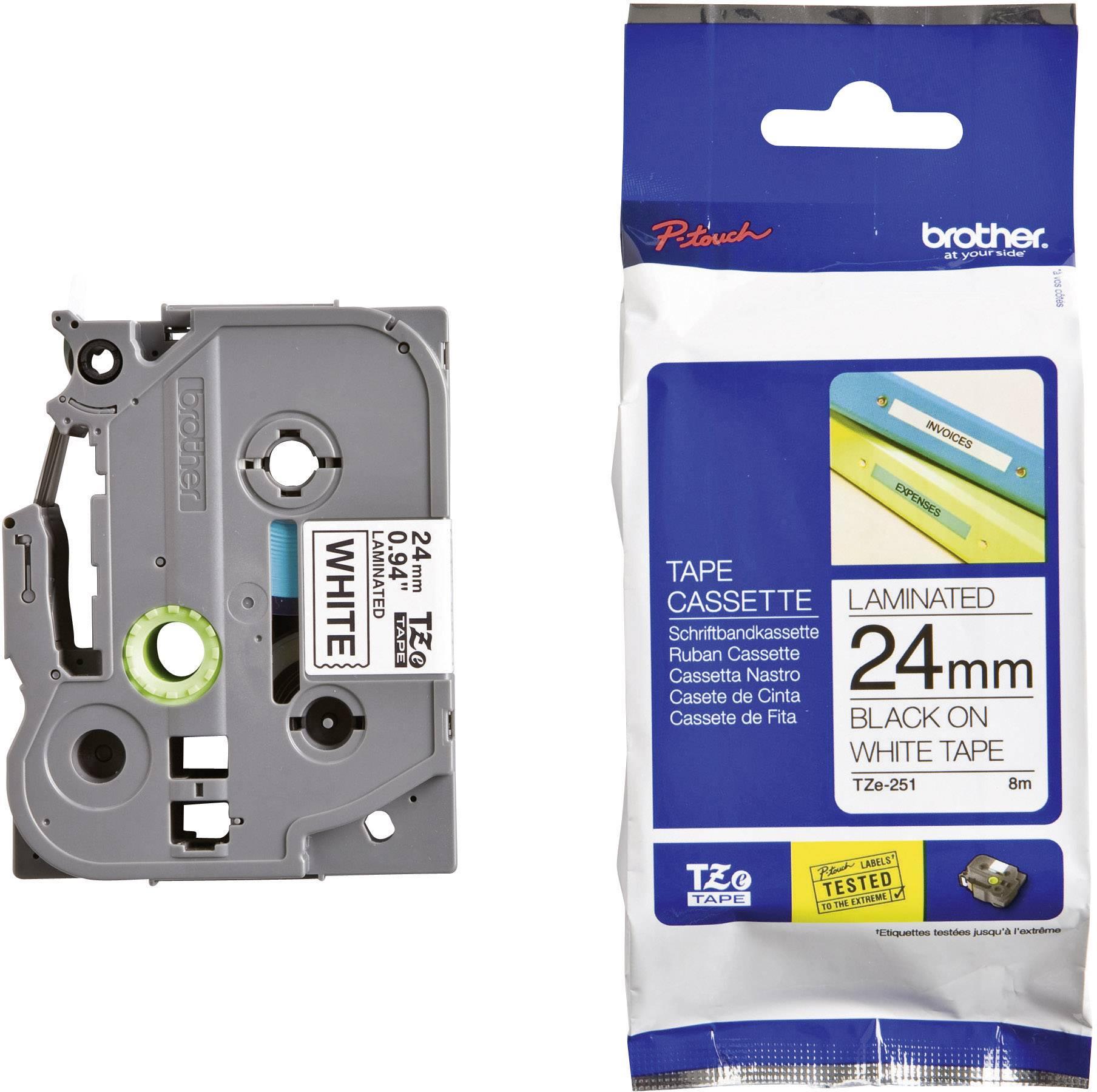 2 Schriftbänder kompatibel zu Brother P-Touch TZE-455 8m//24mm Weiß auf Rot