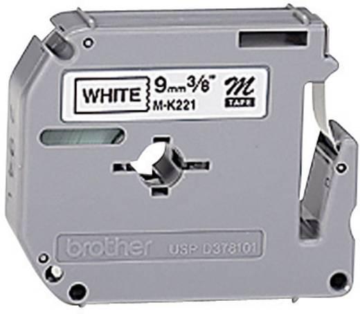 Schriftband Brother M M-K221S Bandfarbe: Weiß Schriftfarbe:Schwarz 9 mm 4 m