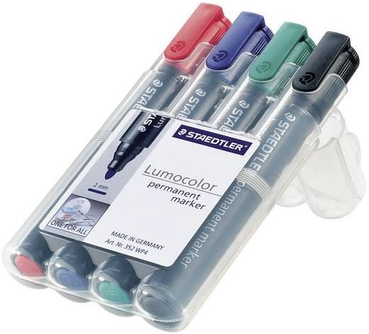 Permanent-Marker Lumocolor Staedtler 352 WP4 Blau, Rot, Schwarz, Grün Rundform 2 mm (max) 4 St.