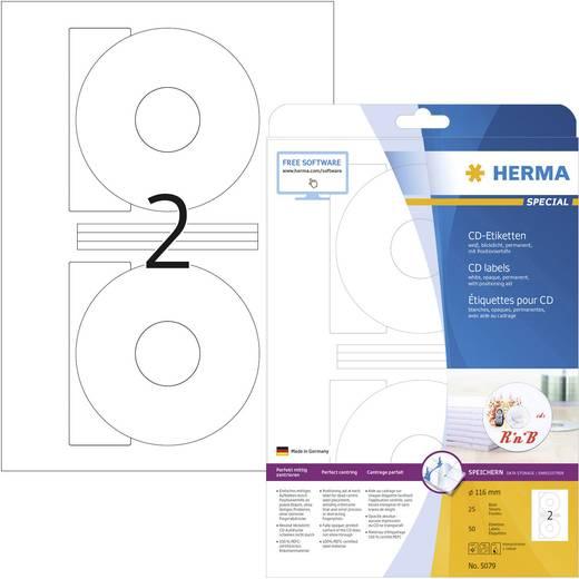 Herma 5079 Etiketten (A4) Ø 116 mm Papier Weiß 50 St. Permanent CD-Etiketten Tinte, Laser