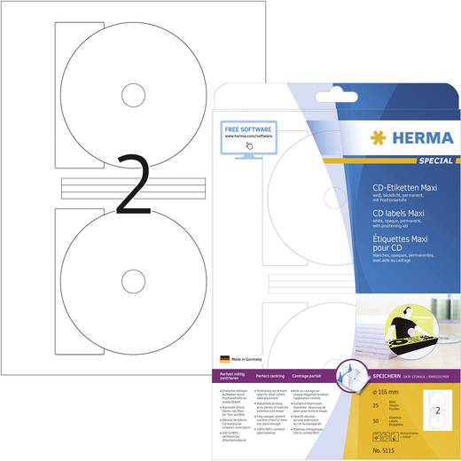 Herma 5115 Etiketten (A4) Ø 116 mm Papier Weiß 50 St. Permanent CD-Etiketten Tinte, Laser