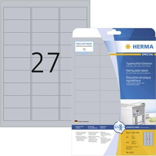 Herma 4222 Etiketten (A4) 63.5 x 29.6 mm Polyester-Folie Silber 675 St. Permanent Typenschild-Etiketten Laser, Kopie