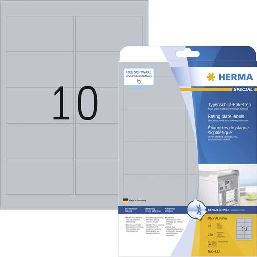 Herma 4223 Etiketten (A4) 96 x 50.8 mm Polyester-Folie Silber 250 St. Permanent Typenschild-Etiketten Laser, Kopie