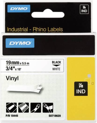 Schriftband DYMO IND RHINO 18445 Vinyl Bandfarbe: Weiß Schriftfarbe:Schwarz 19 mm 5.5 m