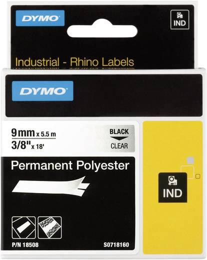 Schriftband DYMO IND RHINO 18508 Polyester Bandfarbe: Transparent Schriftfarbe:Schwarz 9 mm 5.5 m