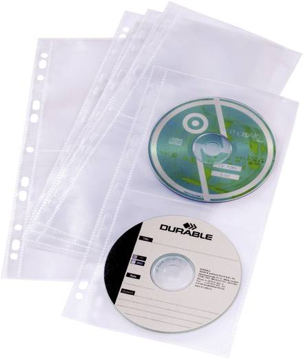 Durable CD/DVD-Hüllen für Ringbücher 5er-Set 5282-19 Transparent 4 CDs/DVDs