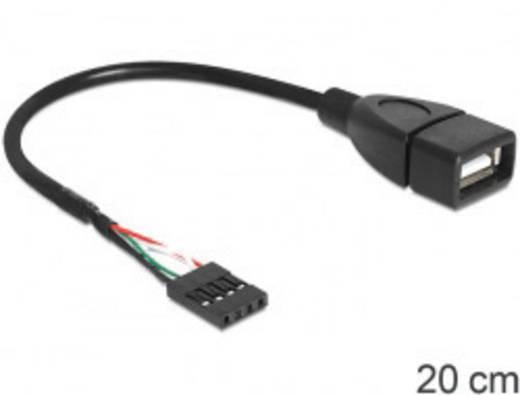 USB 2.0 Anschlusskabel [1x USB 2.0 Buchse intern 4pol. - 1x USB 2.0 Buchse A] 0.20 m Schwarz UL-zertifiziert Delock