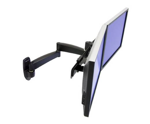 2fach monitor wandhalterung 30 5 cm 12 55 9 cm 22 schwenkbar rotierbar ergotron 200. Black Bedroom Furniture Sets. Home Design Ideas