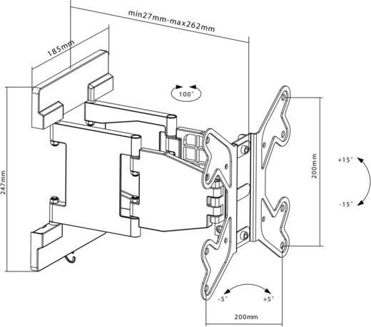 """Goobay EasyFold M TV-Wandhalterung 43,2 cm (17"""") - 106,7 cm (42"""") Neigbar+Schwenkbar"""