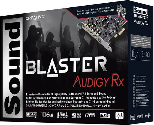 7.1 Soundkarte, Intern Creative Labs SoundBlaster Audigy RX PCIe x1 Digitalausgang, externe Kopfhöreranschlüsse