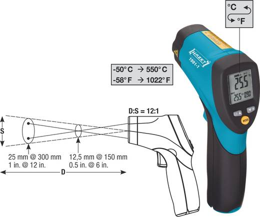 Infrarot-Thermometer Hazet Optik 12:1 -50 bis +550 °C Kalibriert nach: ISO