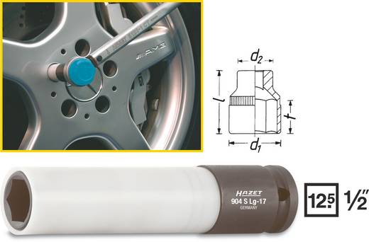 "Außen-Sechskant Kraft-Steckschlüsseleinsatz 17 mm 1/2"" (12.5 mm) Produktabmessung, Länge 130 mm Hazet 904SLG-17"